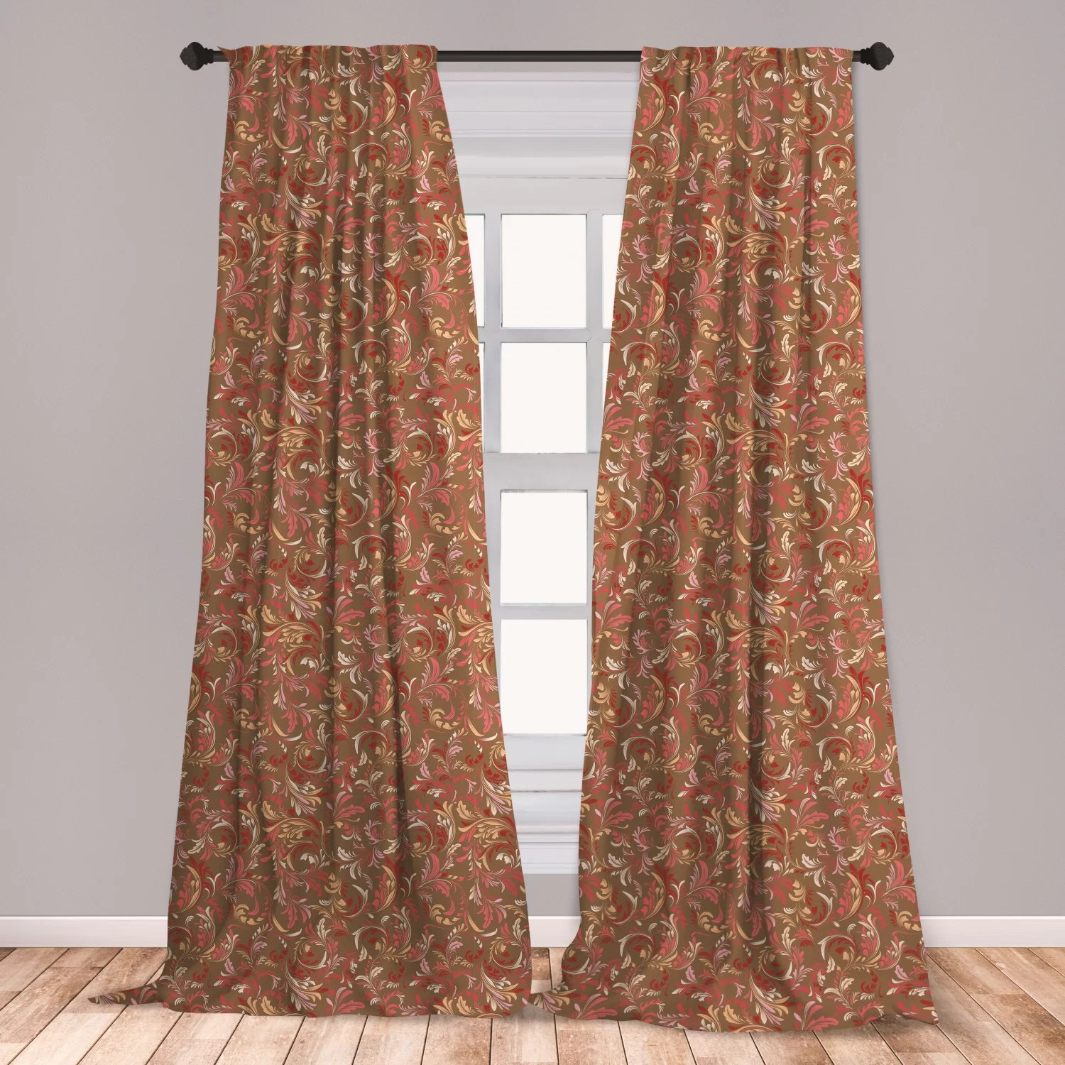 ambesonne nostalgic window curtains old fashioned victorian pattern with leaves petals classical feminine vintage lightweight decorative panels set
