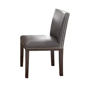 white leather chairs dining barrel swivel genuine kitchen you ll love wayfair quickview grey