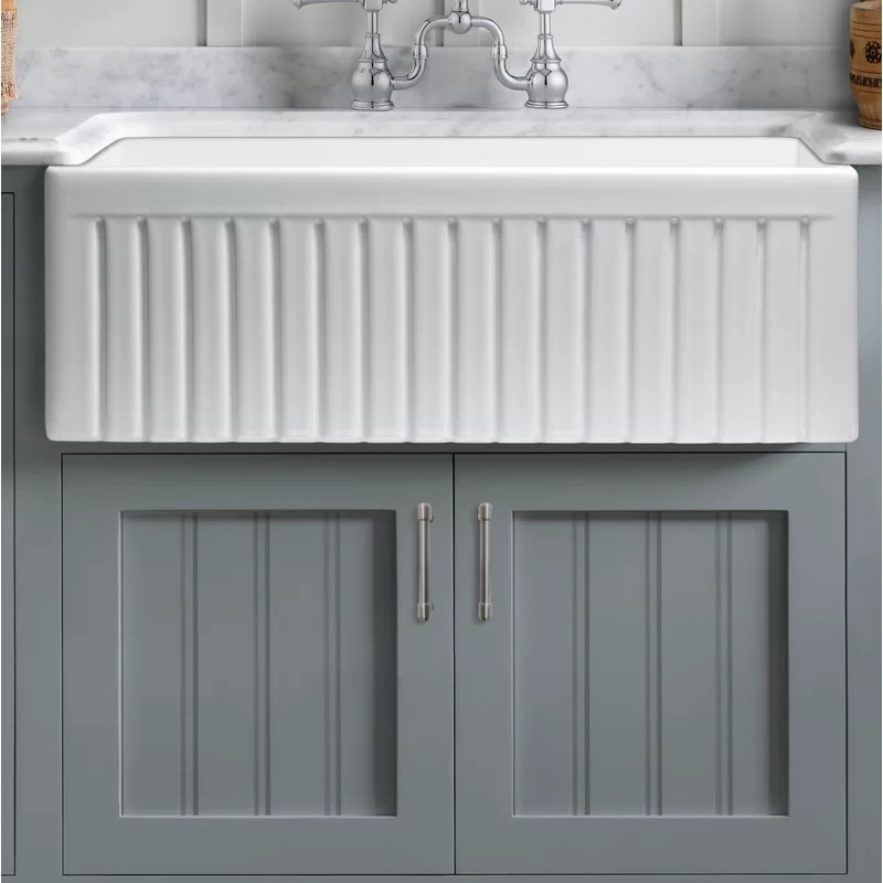 dorn 27 l x 18 w farmhouse kitchen sink with grid and strainer