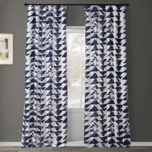 fey printed cotton geometric rod pocket single curtain panel