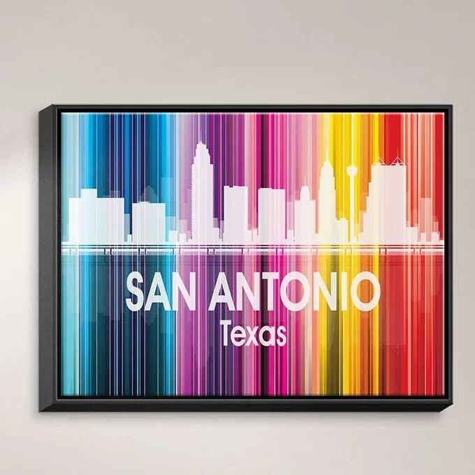 City II San Antonio Texas by Angelina Vick Graphic Art on Wrapped Framed Canvas Size: 17.75 H x 21.75 W x 1.75 D Frame Color: Black