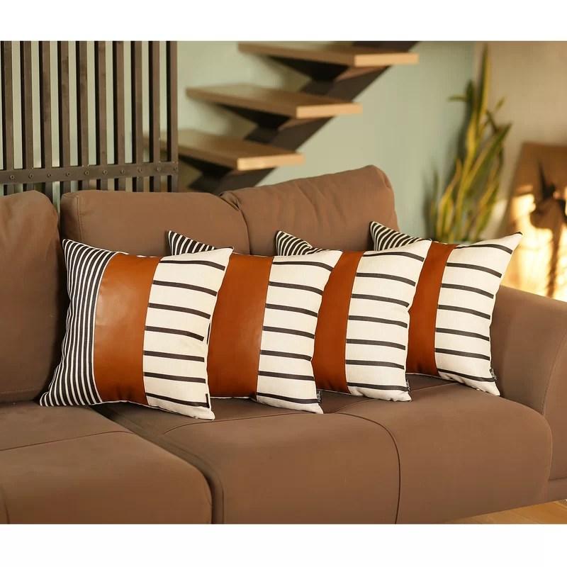 abigaile square faux leather pillow cover