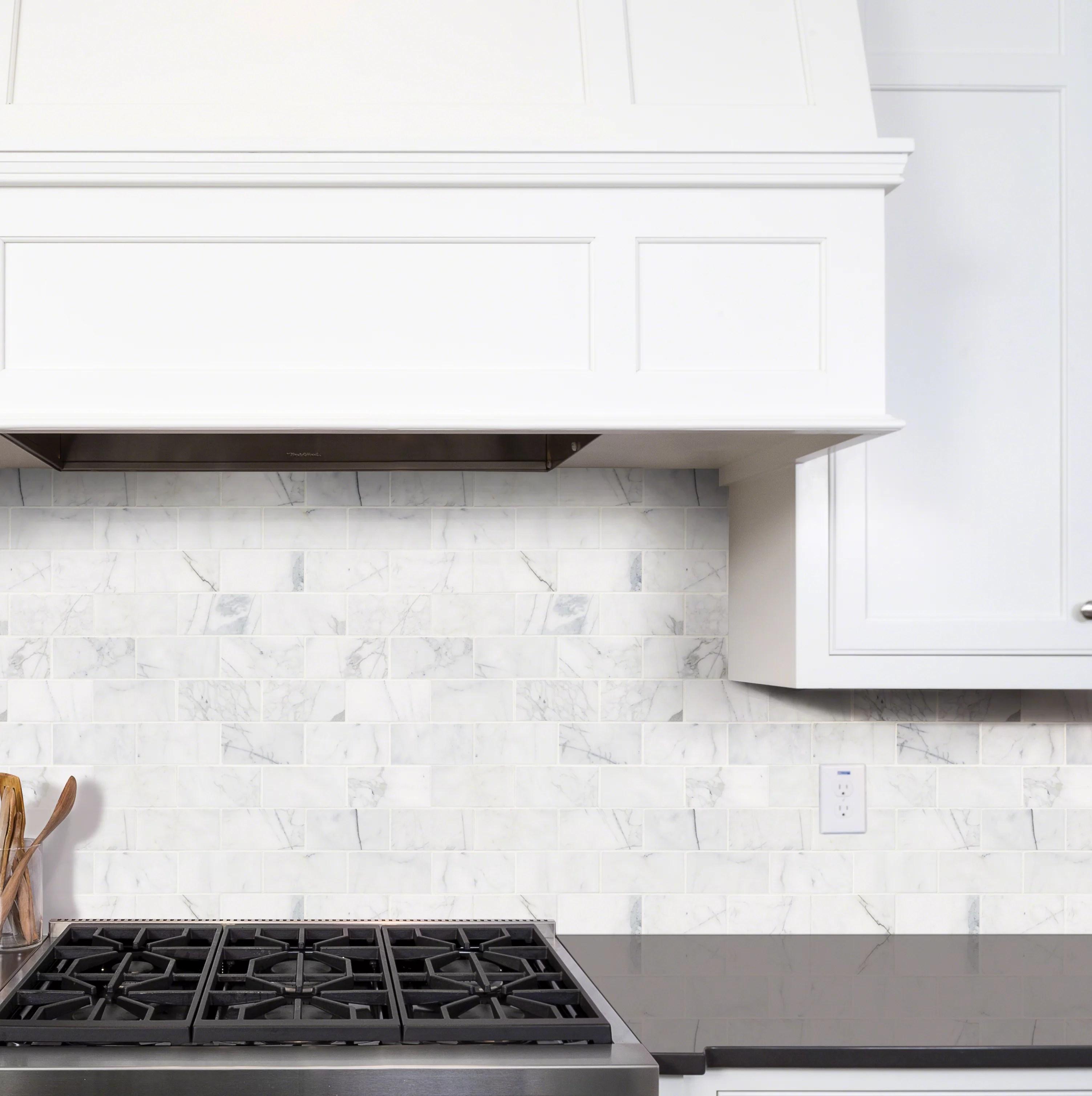 msi calacatta cressa 3 x 6 marble look wall floor tile reviews wayfair