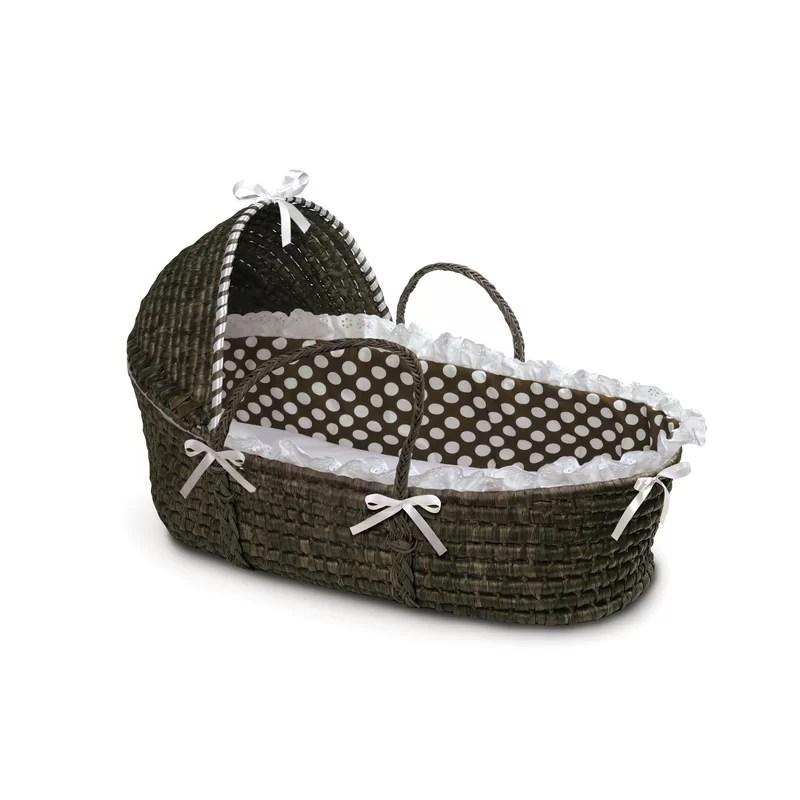 Hooded Moses Basket with Polka Dot Bedding Finish: Espresso / Brown Polka Dot