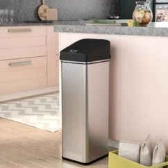 Kitchen Trash Standing Cabinets For Cans You Ll Love Wayfair Ca Stainless Steel 13 Gallon Motion Sensor Can