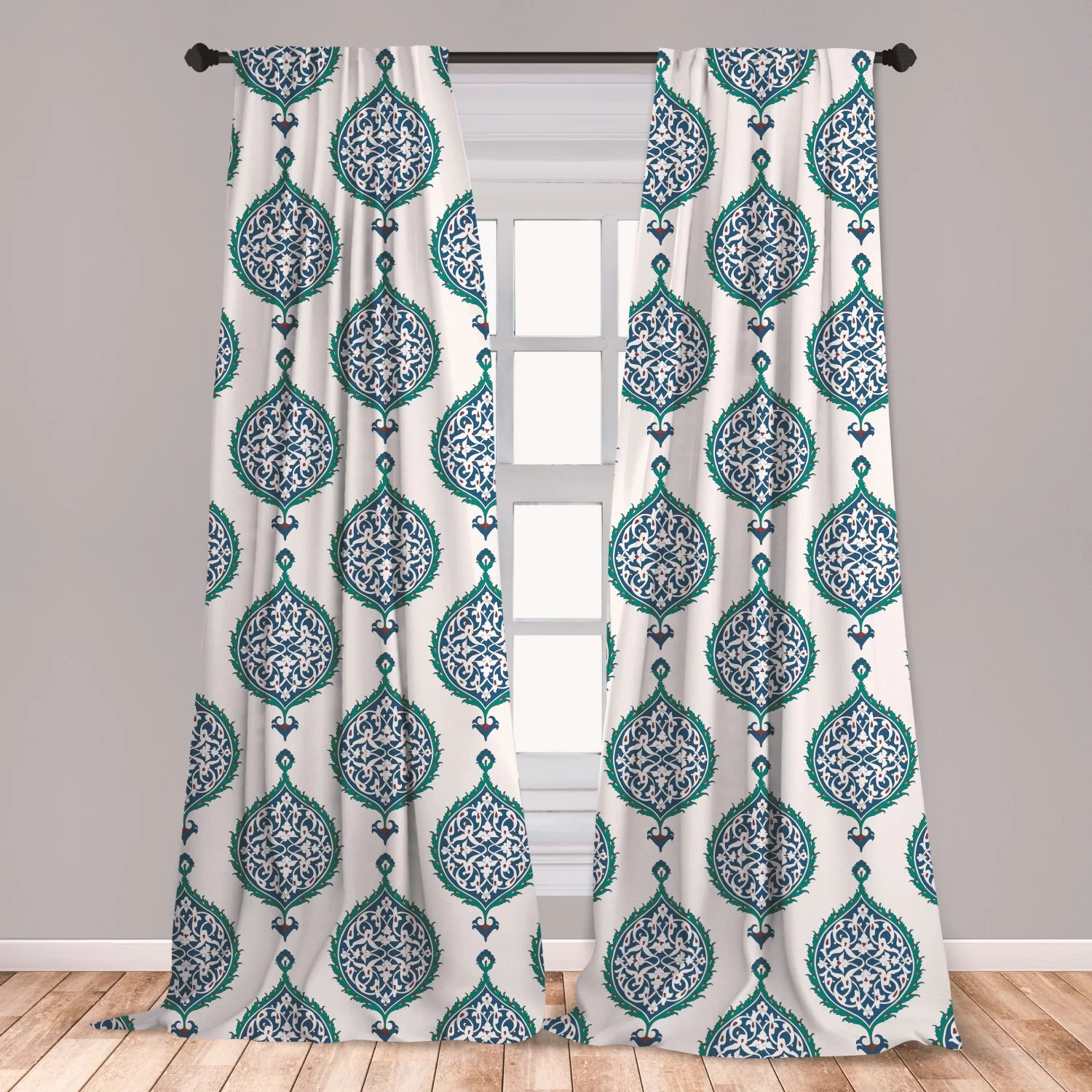 ambesonne turkish pattern curtains leaves in symmetrical order cultures of the east theme window treatments 2 panel set for living room bedroom