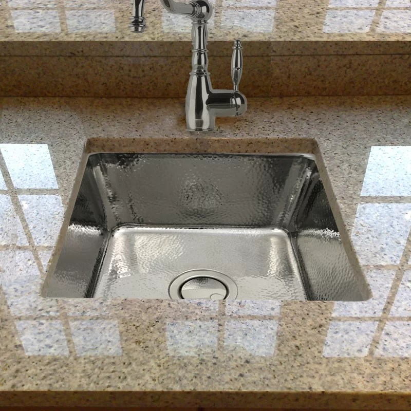 brightwork square hammered stainless 17 l x 17 w bar sink