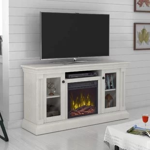 living room fireplace off centered grey white yellow tv stands entertainment centers at great prices wayfair annmarie stand for tvs up to 60 with electric