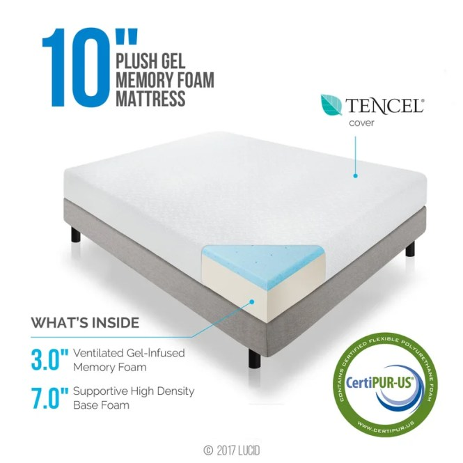 10 Medium Plush Gel Memory Foam Mattress