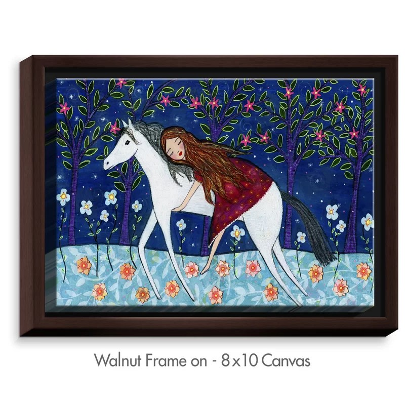 Horse Dreamer by Sascalia Painting Print on Wrapped Framed Canvas Size: 12.75 H x 15.75 W x 1.75 D Frame Color: Walnut