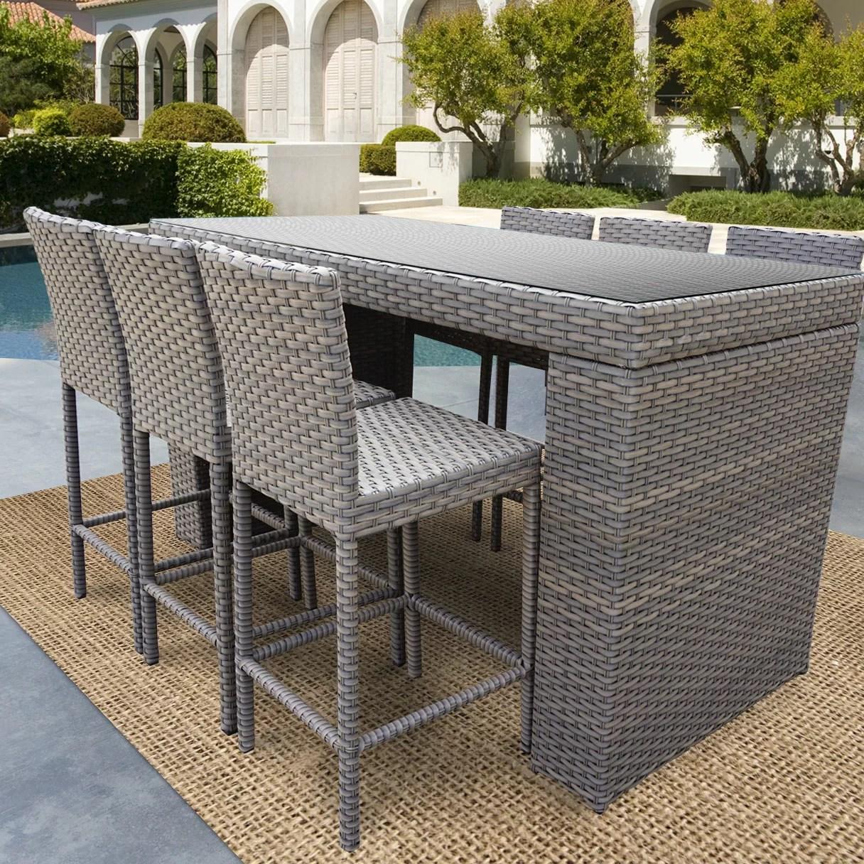 Sol 72 Outdoor Cedarville 7 Piece Bar Height Pub Table Set Wayfair
