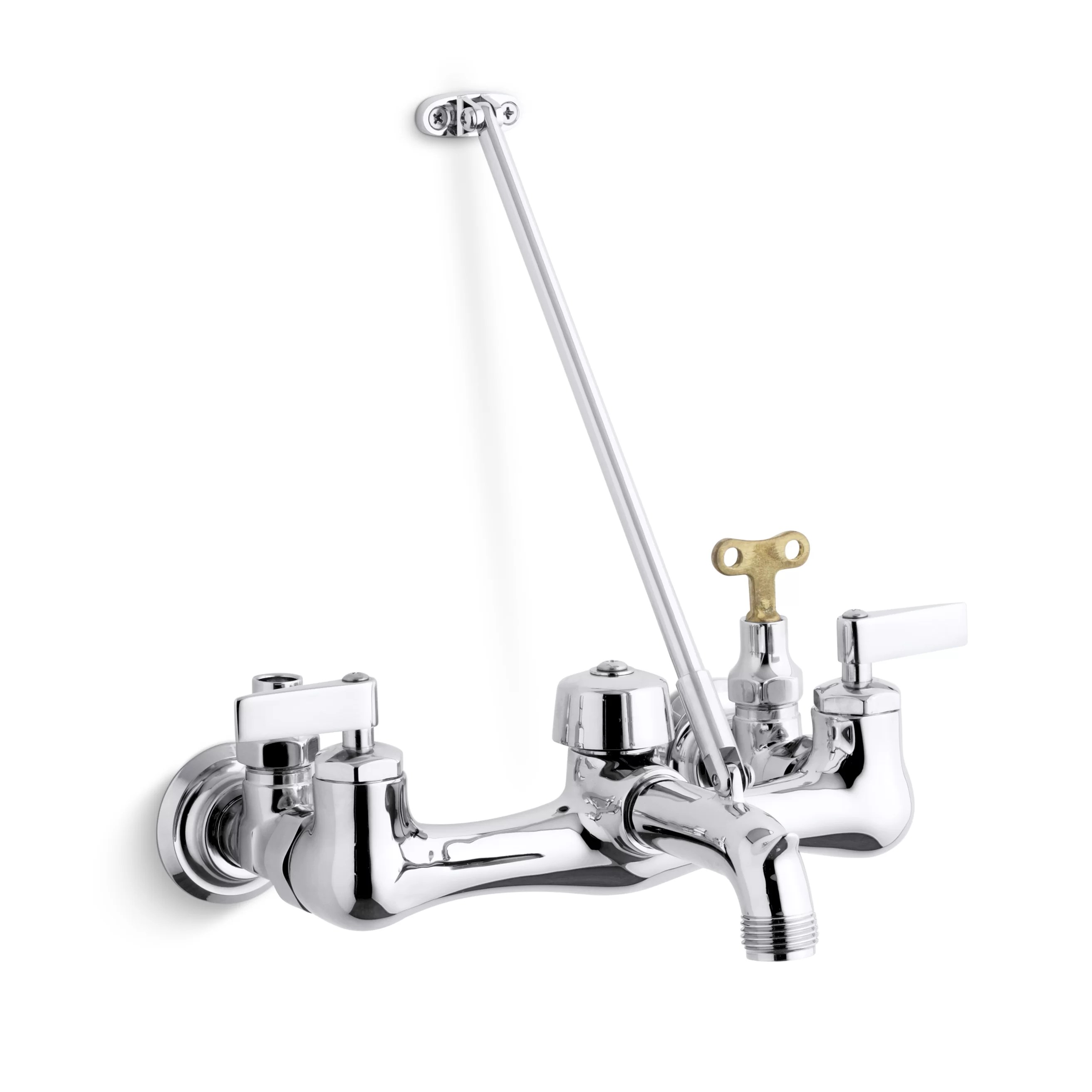 kinlock double lever handle service sink faucet with top mounted wall brace and loose key stops