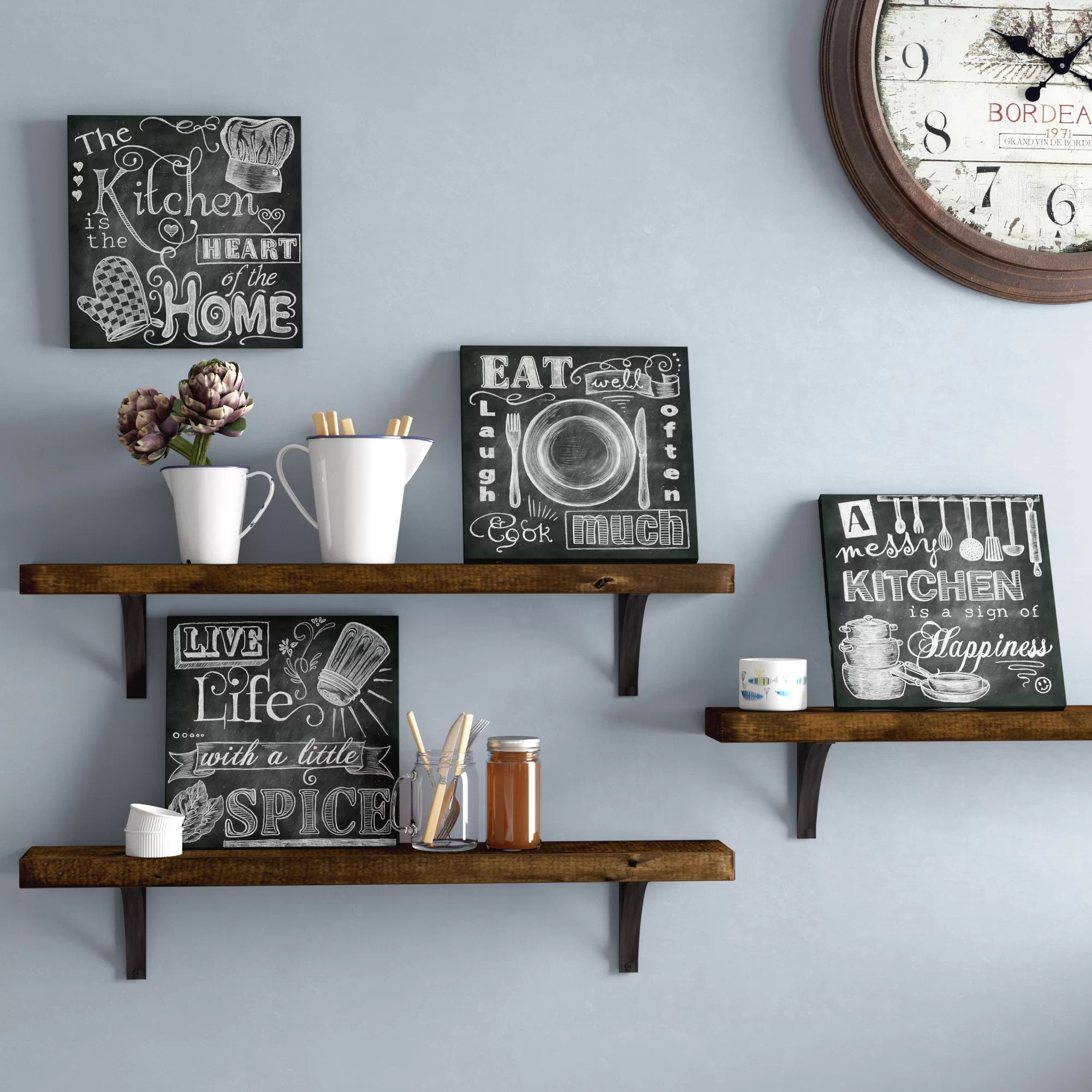kitchen signs for home depot design darby co beautiful fun chalkboard messy heart of the spice life and cook much 4 piece framed graphic art print