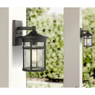 stallings 14 h seeded glass outdoor wall lantern