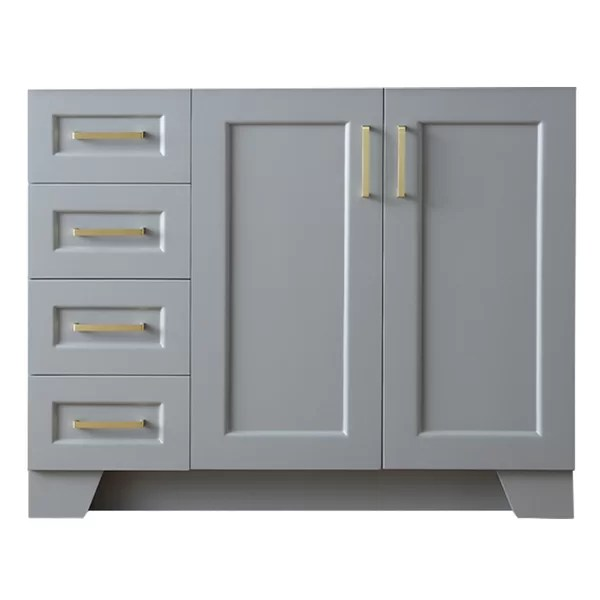 sawyer 42 in right offset single sink base cabinet in grey