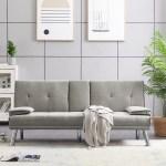 Latitude Run Modern Faux Leather Convertible Futon Sofa Bed Black