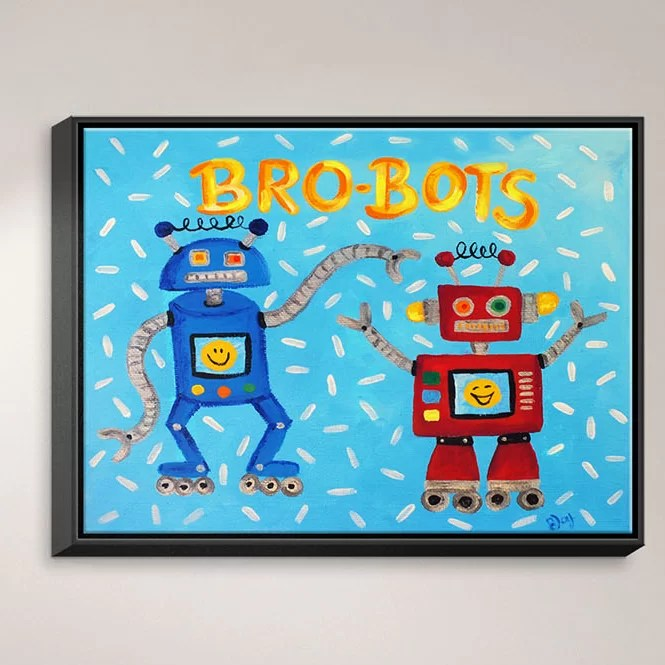 Brobots by NJoy Art Painting Print on Wrapped Framed Canvas Size: 12.75 H x 15.75 W x 1.75 D Frame Color: Black