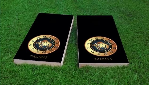 Zodiac Taurus Themed Cornhole Game Size: 48 H x 24 W Color: Black Bag Fill: All Weather Plastic Resin