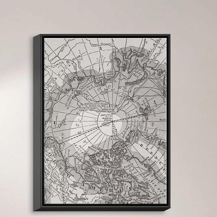 Arctic Light Map by Catherine Holcombe Graphic Art on Wrapped Framed Canvas Size: 15.75 H x 12.75 W x 1.75 D Frame Color: Black