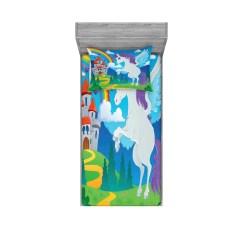 East Urban Home Fantasy Mythical Unicorn with Rainbow and Medieval Castle Fairy Tale Cartoon Sheet Set Wayfair
