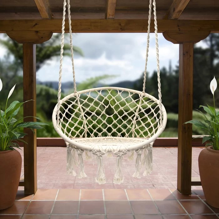 swing chair wayfair genuine leather and ottoman bungalow rose cottle hanging rope ca