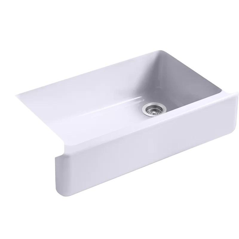 whitehaven single bowl farmhouse kitchen sink with tall apron