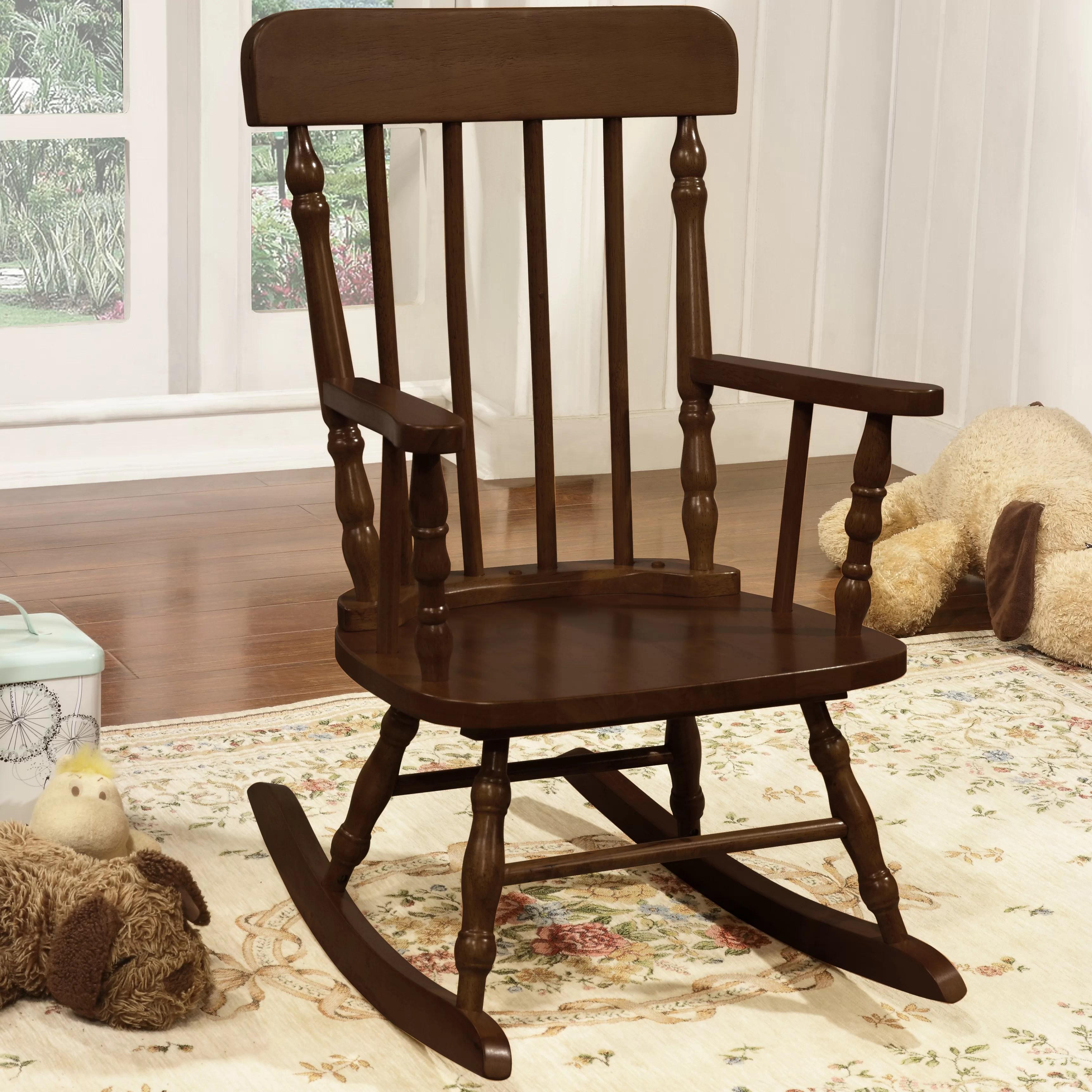 kids wood rocking chair dining room covers black harriet bee della kid s solid pine reviews wayfair