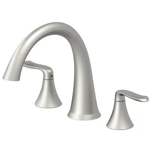 piccolo double handle deck mounted roman tub faucet with diverter