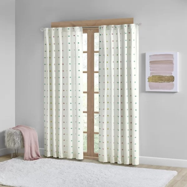white pom pom curtains