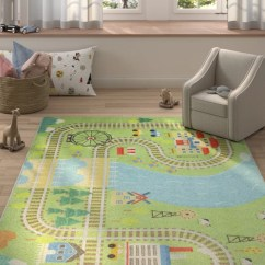 Living Rooms With Blue Area Rugs Pictures Of Leather Sectionals Zoomie Kids Engler Train Track Green Rug Wayfair