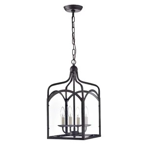 Glass Lantern 4 Light Candle Style Chandelier