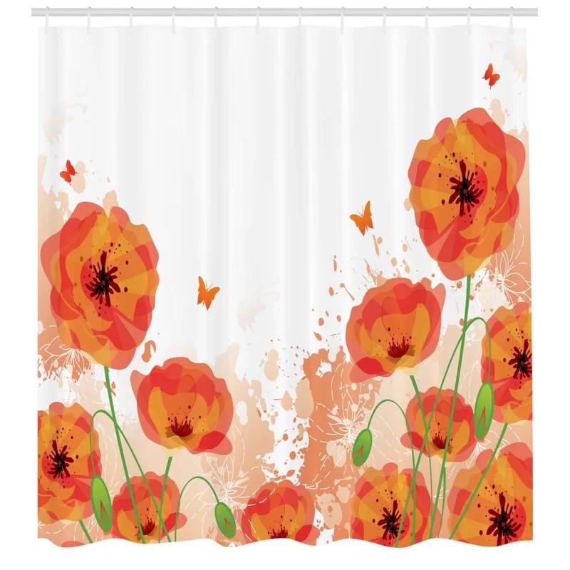 poppy shower curtain set hooks