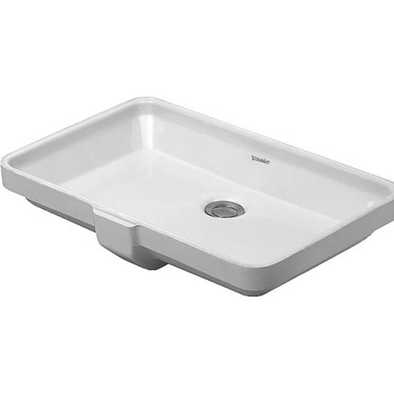 Vanity Ceramic Rectangular Undermount Bathroom Sink with Overflow