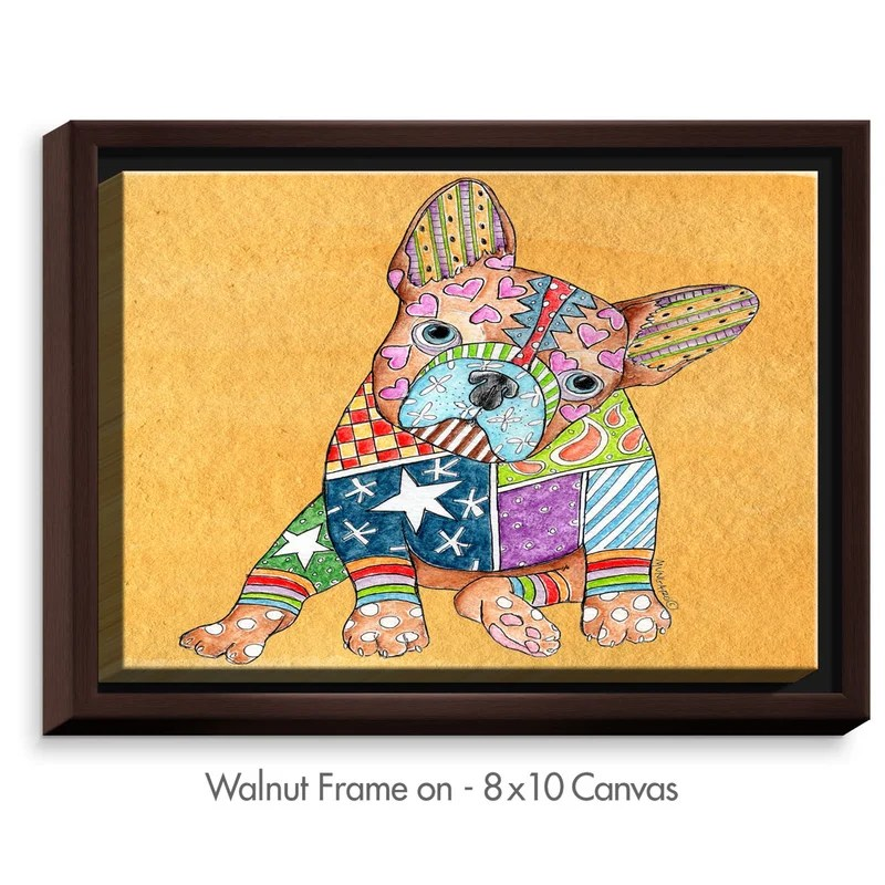 French Bulldog by Marley Ungaro Painting Print on Wrapped Framed Canvas Size: 12.75 H x 15.75 W x 1.75 D Frame Color: Walnut