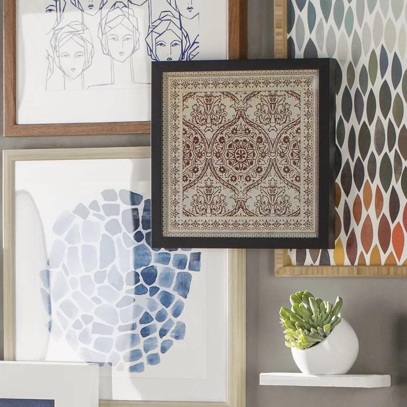 Tile 9 Framed Graphic Art Color: Red