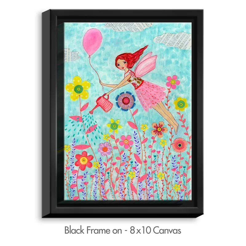 Garden Fairy by Sascalia Painting Print on Wrapped Framed Canvas Size: 15.75 H x 12.75 W x 1.75 D Frame Color: Black