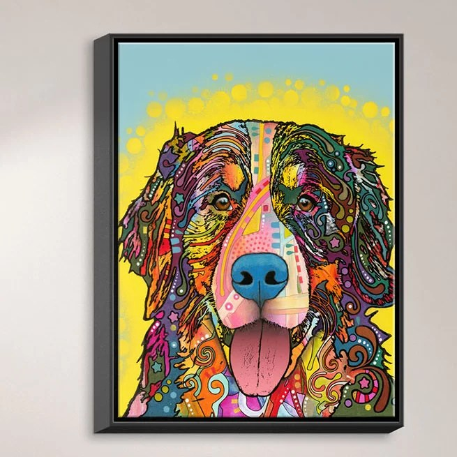 Bernese Mountain Dog by Dean Russo Graphic Art on Wrapped Framed Canvas Size: 37.75 H x 25.75 W x 1.75 D Frame Color: Black