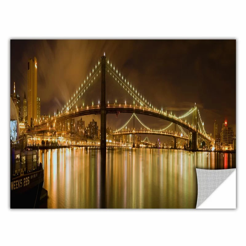 Brooklyn Bridge by Cody York Photographic Print  Removable Wall Decal Size: 12 H x 36 W x 0.1 D