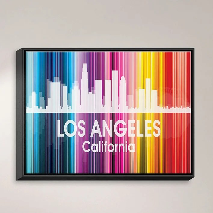 City II Los Angeles California by Angelina Vick Graphic Art on Wrapped Framed Canvas Size: 12.75 H x 15.75 W x 1.75 D Frame Color: Black