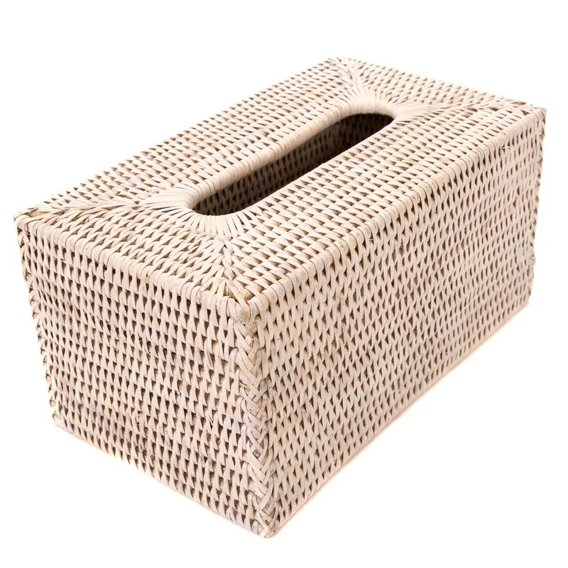 Rattan Long Tissue Box Cover Color: White Wash