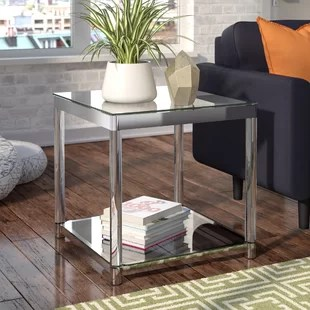 living room end tables ideas light brown couch modern glass side allmodern mcgrady table