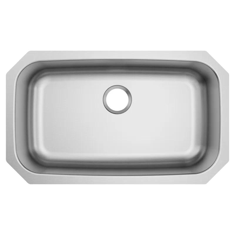 1800 series 30 5 l x 18 25 w undermount single bowl stainless steel kitchen sink