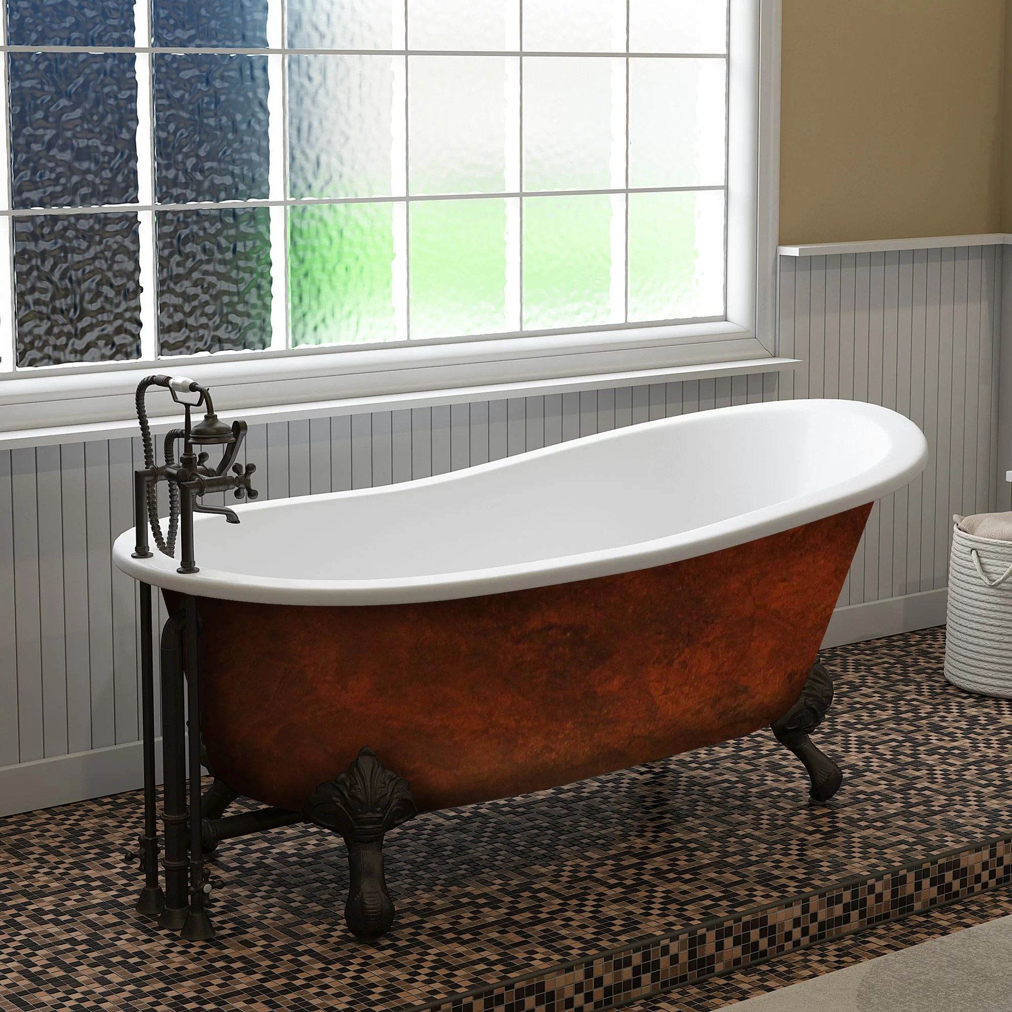 baignoire autoportante en fonte patte de 67 po x 30 po