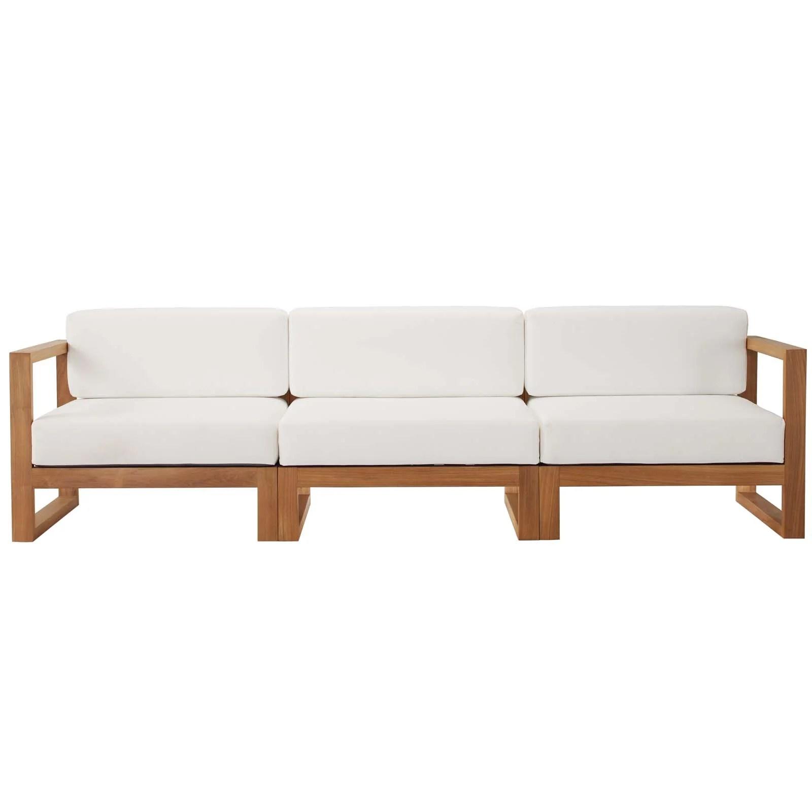 cambridge teak patio sofa with cushions allmodern