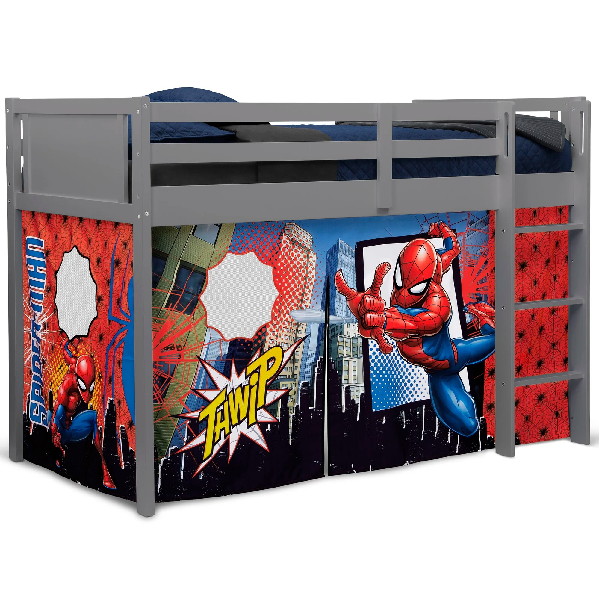 spider man loft bed tent curtain set for low twin loft bed bed sold separately by delta children