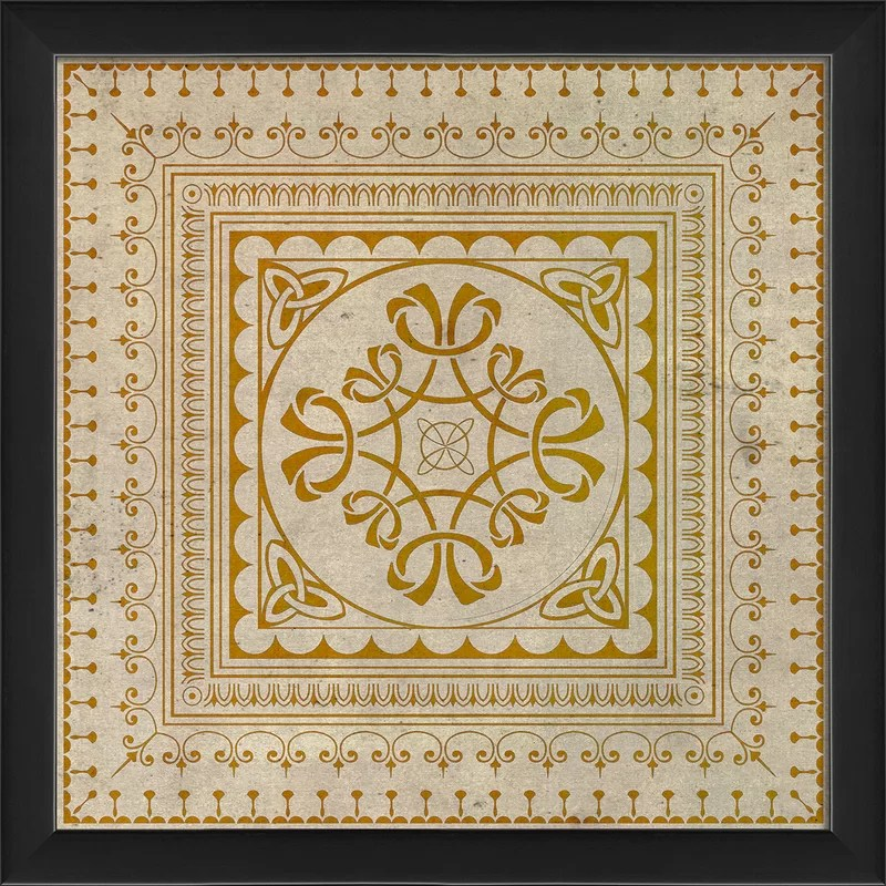 Tile 8 Framed Graphic Art Color: Yellow
