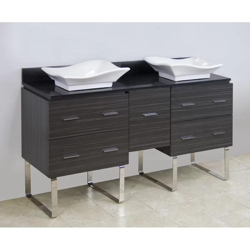 60 Double Modern Bathroom Vanity Set Hardware Finish: Chrome