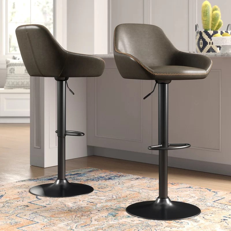 Thibodeaux Swivel Adjustable Height Bar Stool (Set of 2)