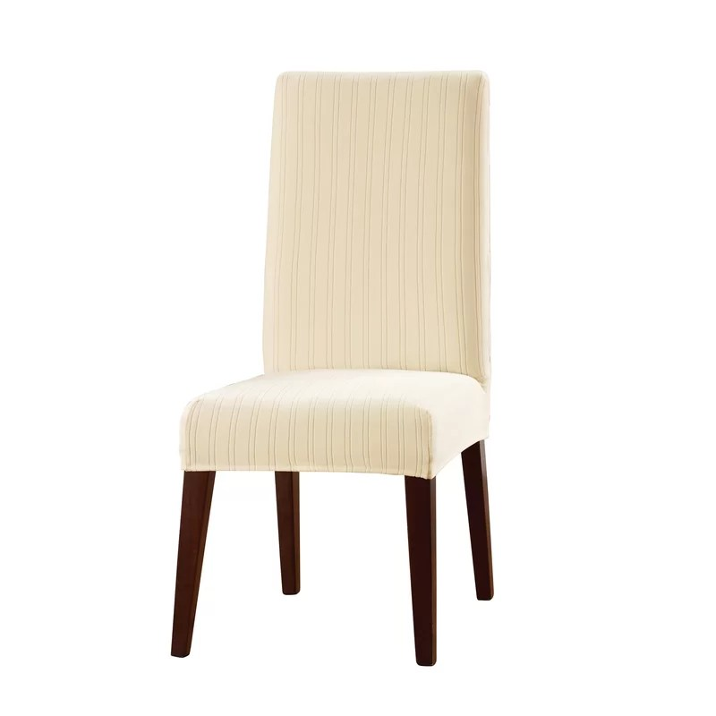 stretch dining chair covers swing in stand sure fit pinstripe slipcover reviews wayfair
