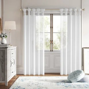 lester twisted voile solid sheer tab top curtain panels set of 2